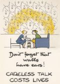 WALLS HAVE EARS! CARELESS TALK COST LIVES POSTCARD
